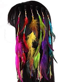 Fodattm Set von 6 handgefertigten Boho Hippie Haarverlängerungen mit Feder Clip Kamm Haarnadel Kopfschmuck DIY Zubehör für Mädchen Frauen Feder-clip