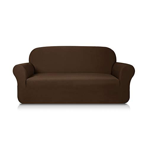 Subrtex 2-Sitzer Sofabezug Sofahusse Stretchhusse Sofaüberwurf Couchhusse Spannbezug (2-Sitzer Sofa, Kaffee)