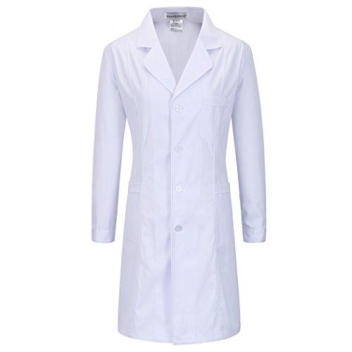 Lange abschnitt langärmelige weiß arbeit kittel ärzte krankenschwestern bekleidung arbeitskleidung (damen, S)