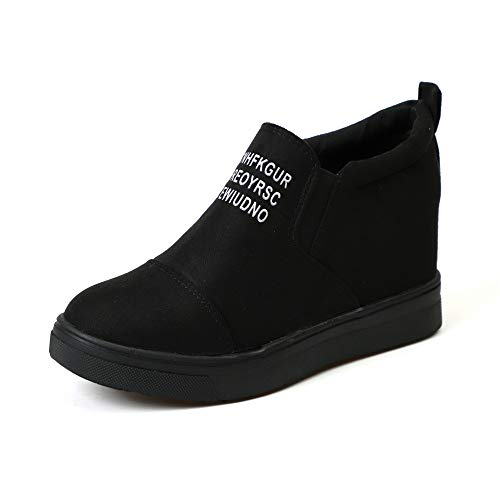 Miuko Plateau Sneaker Damen Leder Keilabsatz Hohe 7 cm Absatz Slip On Wildleder Loafers Wedges Ankle Boots Casual Bequeme Schwarz 40 (Sneakers Mädchen Wedge)