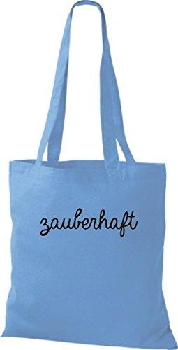 ShirtInStyle Stoffbeutel, Baumwolltasche, Shopper lustiger Typo Spruch zauberhaft hellblau