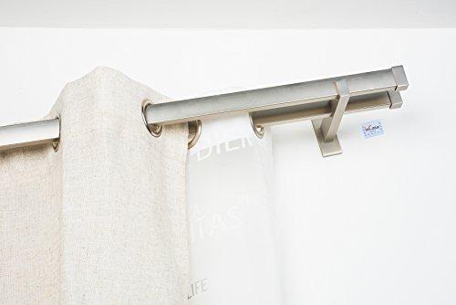 Double Tringle á Rideaux: 31 x 12 mm, L. 180 cm sans Anneaux en Acier satiné - Complet