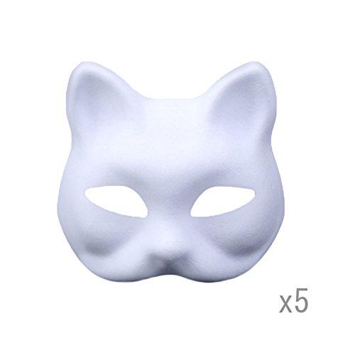 Meimask DIY 5 stücke Weißes Papier Maske Zellstoff Blank Handgemalte Maske Persönlichkeit Kreative Freie Design Maske (Katze)