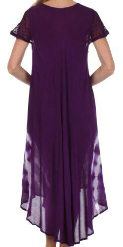 Sakkas Robe Coton Floral Brodé Peint Mancheron Violet