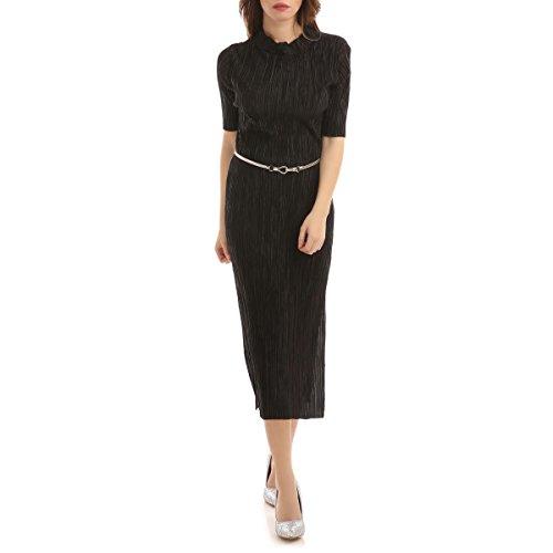La Modeuse - Robe longue effet satiné manches courtes et fendue sur les côtés Noir