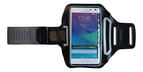 Blackberry Mobile (Sport-Armband Fitness Hülle passend für BlackBerry Mobile Key2 Handy Armtasche leicht, Sleeve flach Jogging Unisex, Dealbude24 Trendy L Grau)