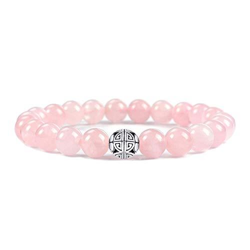 Natürliche 8 mm Edelsteine MetJakt Heilung Crystal Stretch Perlen Armband Armreif mit 925 Sterling Silber Double Happiness Anhänger (Rosenquarz) -