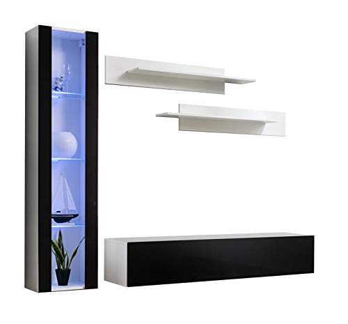 Conjunto Muebles de salón Nora Blanco Negro Modelo G2 con luz LED