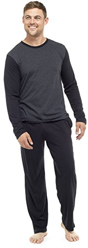 MARK KLEIN Mens Pyjama PJ Set/Nightwear/Sleepwear/Loungewear (Grey/black, Medium)