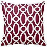 Modern Oval Links Pattern In Cranberry And White Throw R78e6a2d87807483b9f0510bf465661c3 I52ni 8byvr Pillow Case 18\
