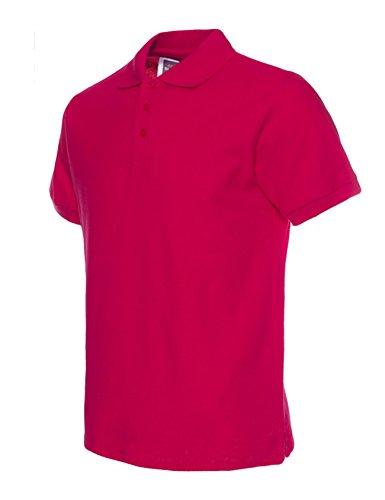 Bestgift Herren Poloshirt Kurzarm Stehkragen Polohemd Polo T-Shirt Kurzarm Basic Shirt Tops Rose