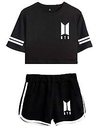 844c97e6f Leslady Chándales Deportiva con Impresa Tear de BTS Camiseta y Pantalones  Cortos para Mujer