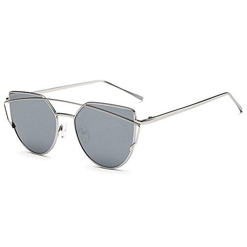Highdas Nuovo gatto dell'occhio Occhiali da sole Aviator donne del metallo di modo annata cornice (Vetro Occhiali)