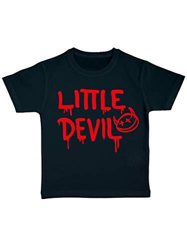 clothinx Kinder T-Shirt Bio Halloween Little Devil Schwarz/Rot Größe (Little Devil Kostüm Mädchen)