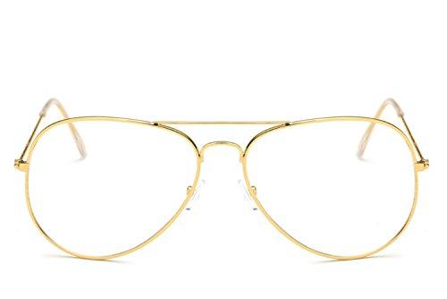 Kafe Unisex Metall Brillengestell Panda Augen Geformt Vintage Brillen (Golden)
