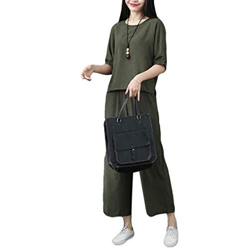 CuteRose Women Tenths Pants Cotton/Linen Pure Colour Loose Tracksuit Jog Set Blackish Green XL