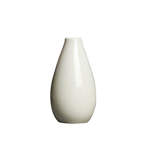 TOPmountain Modernes Design Keramik Blumenvase, Kreative Blumenschmuck Kleine Vase Keramik Ikebana Vase Hochzeit Ornament Craft - Weiß (Ikebana-keramik-vasen)