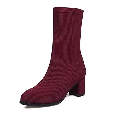 IWxez Damenmode Stiefel Elastischer Stoff Herbst Stiefel Chunky Heel Closed Toe Mitte der Wade Stiefel Schwarz/Beige / Burgund, Burgund, US8 / EU39 / UK6 / CN39