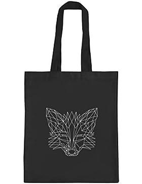 Fox natur Jutebeutel Stoffbeutel mit Polygon Fuchs Motiv von ShirtStreet