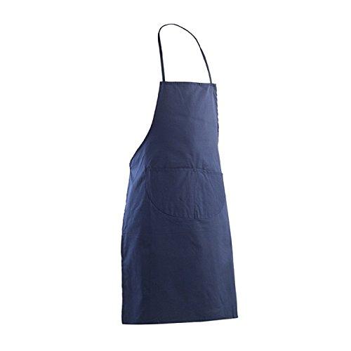 Grembiule Parannanza Da Cucina In Cotone Con Tasca E Pettorina - Blu, Unica