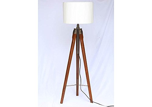 Wooden Tripod Floor Lamp Stand with Shade and Bulb.