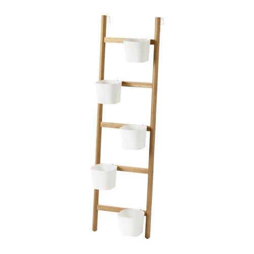 Ikea Satsumas Halter Mit 5 Ubertopfen Aus Bambus In Weiss 125cm