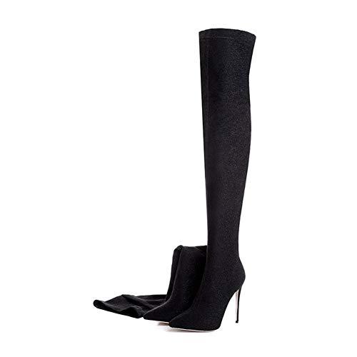 QZX Shoes Damen Oberschenkel Hoch Stiefel Overknee Schenkelhoch Stiettos High Heel Stretch Absatz Dehnbar Überknie ()