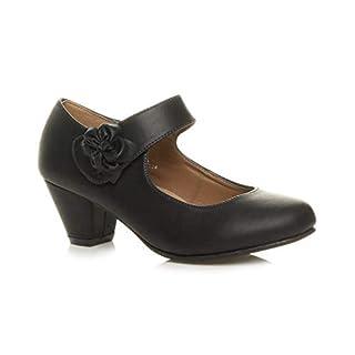 Ajvani Damen Mitte Blockabsatz Lederfutter Komfort Blume Mary Jane Schuhe Größe 6 39