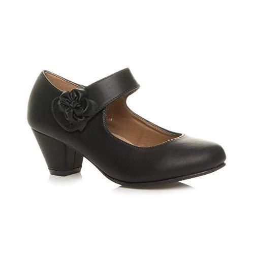 Ajvani Damen Mitte Blockabsatz Lederfutter Komfort Blume Mary Jane Schuhe Größe 6 39 Ankle Strap T-strap-pumps
