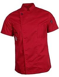 IPOTCH Chaqueta Unisex Mangas Cortas Chef Camarero Escudo Confortable Suave Tacto Relajante