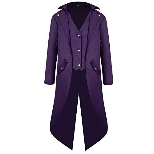Zolimx Herren Langarm-Mantel Frack Jacke Gothic Gehrock Normallack Mode Steampunk Retro-Smoking Männer Uniform Kostüm Party Oberbekleidung Plus Size (Lila, ()