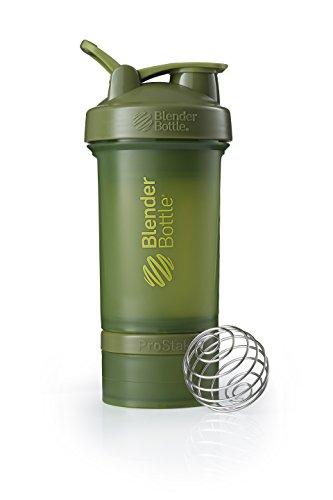 BlenderBottle ProStak Shaker | Protein Shaker| Fitness Shaker | BPA frei | mit BlenderBall | inkl. 2 Containern 150ml & 100ml +1 Pillenfach | 650ml - Moss Green -