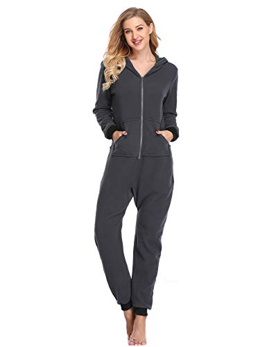 Lusofie Damen Jumpsuit Einteilige Strampler Body Anzug Onesie Pyjamas Overall mit Kapuze (Grau, M)