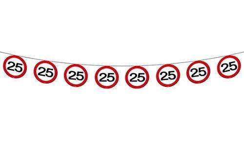 bb10 Schmuck 25.Geburtstag Girlande Flagbanner mit Zahl 25 Wimpelkette mit 15 Verkehrsschildern und 12m lang Dekoration zum 25er Geburtstag Party Jubiläum oder andere Anlässe (15 Dekoration Geburtstag Den Für)