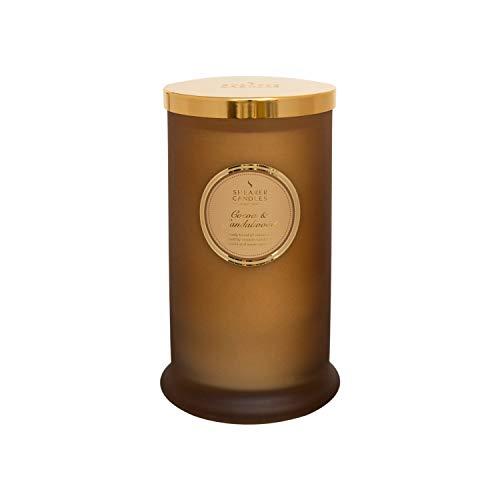 Shearer Candles Duftkerze im Glas, Kakao- und Sandelholzduft, hohe Stumpenkerze, Baumwolldocht, Duft & ätherische Öle, Ombre, Gold, Weiß, groß -