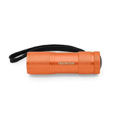Taschenlampe mit persönlicher Gravur, orange, LED Licht, individuelle Geschenkidee