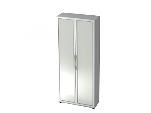 Aktenschrank DR-Büro Serie V40 - Büroschrank mit Glastüren - 80 x 33 x 188-5 Farben, 5 Oh, erweiterbar, Farbe Büromöbel:Grau
