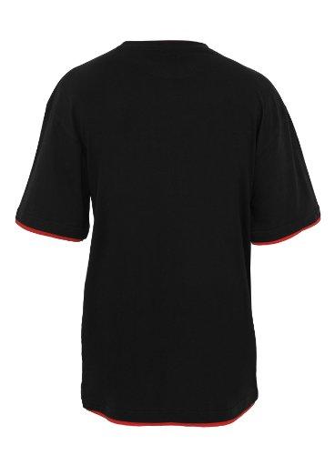 Urban Classics Herren T-Shirt slimfit Rundhals Contrast Tall Tee Schwarz Rot