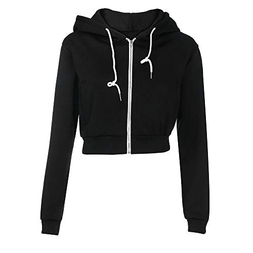 Oliviavan,Frauen Fashion Solid Crop Hoodie Reißverschluss Sweatshirt Zip Cozy Hoody Dance Damen Jacke Winter Sweatshirts Hoodie
