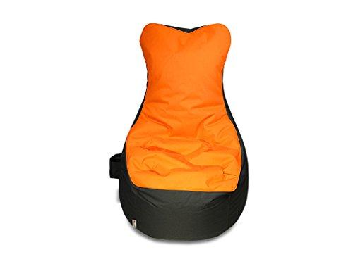 kissenwelt.de Sitzsack BEZUG, OHNE FÜLLUNG, Sessel mit Lehne, Orange/Grau, H90xB70xSitzH65 cm, Outdoor Polyester