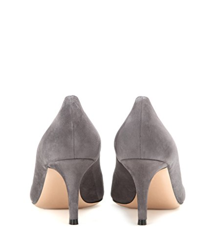 EDEFS - Escarpins Femme - 6 cm Kitten-Heel Chaussures - Bout Pointu Fermé - Classique Bureau Soiree Shoes Gris