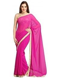 Kuvarba Fashion Chiffon Saree For Women With Moti Border And Blouse Jari Silk