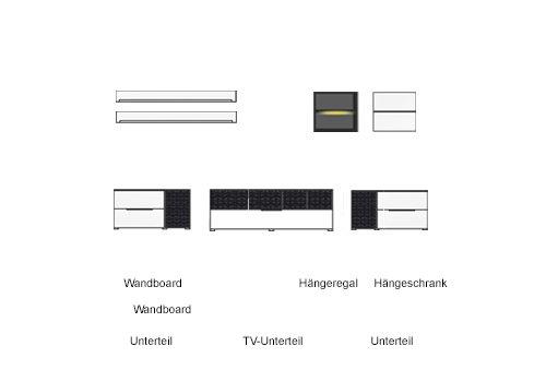 7-tlg Wohnwand in Hochglanz weiß/grau mit Akustik-Fächern und LED-Beleuchtung, Gesamtmaß B/H/T ca. 324/170/51 cm - 2