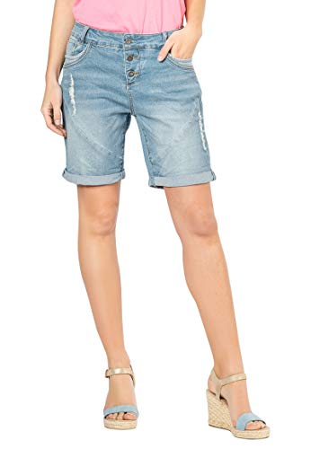 Fresh Made Boyfriend Jeans I Jeans-Shorts Used Look für Damen - Top Qualität Dank hohem Baumwollanteil Light-Blue XS