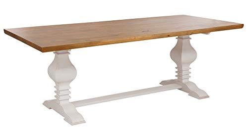 Loft 24 A/S Esstisch 4-6 Personen Esszimmertisch Rechteckig Landhaus Küchentisch MDF Holz Tischbeine Gedrechselt (weiß & Honig, 90 x 140 cm) -