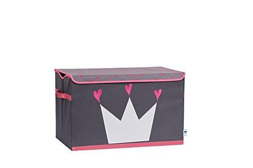 STORE.IT Spielzeugtruhe Krone, Polyester/MDF, Grau-Pink, 61 x 37 x 38 cm
