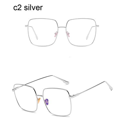 DEFG&FAD Square Clear Glasses Women Brillen in Übergröße Brillenfassungen Transparent Oculos Eyeglasses Fake Glasses, c2 Silver