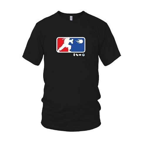 Down Right Punch - Herren T-Shirt, Größe: XL, Farbe: schwarz (Street Fighter Chun Li Kostüm)