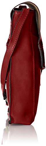 CTM Umhängetasche Unisex, 22x26x6cm, echtes Leder 100% Made in Italy Rot (Rosso)