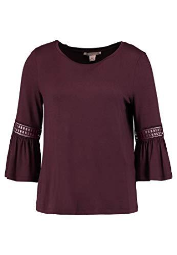 Anna Field Damen Tunika-Bluse mit Spitze – Blusenshirt elegant mit 3/4 Arm, Dunkles Rot in Größe 34
